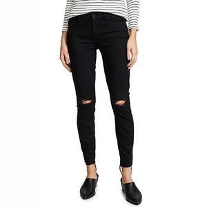 Mother The Looker Ankle Fray Black Skinny Jeans 26